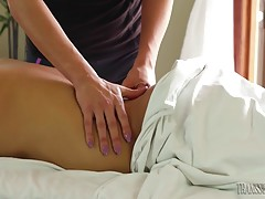 Masseuse Tori Mayes has her first client Gabriel Dalessandro...
