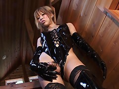 One bad ass girl is the hot tgirl Reina Himesaki as she shows off her self and plays on the staircase in this hot scene. Her body looks amazing in black leather outfit. Watch her as she whips out her cock and gets playful with it for your viewing pleasure