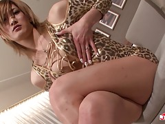 Tgirl Kanon looks very cute in her leopard printed lingerie. Her passion comes out when her man joins her and fondles her breasts, crotch, and then, sucks her cock. It turns her on so much that Kanon wants him to fuck her tight little asshole hard.