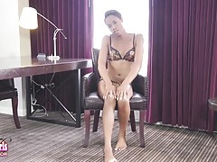 Tiny Tiara is a beautiful petite Grooby girl with an amazing body, natural breasts, a smoking hot bubble butt and a delicious cock! Enjoy this sexy tgirl shaking her booty and stroking her cock for you!