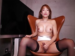 Our resident milf with a cock is back for her 11th outing as she parades her delicious ass in a slutty mini-skirt, stockings and heels like she was just born to perform.